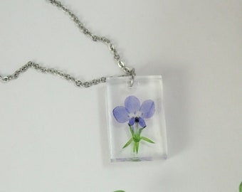 Minimalist Jewelry Pressed Flowers Gifts for Her Botanical Jewelry Purple Lobelia Rectangle Necklace Brass Necklace