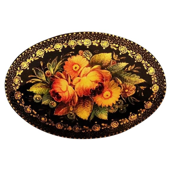 Handcrafted Floral Wooden Russian Lacquer Mystera