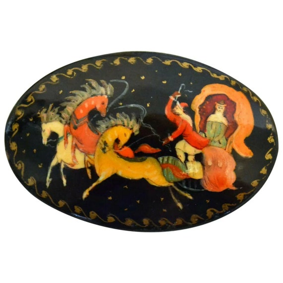 Hand Painted Wooden Russian Lacquer Palekh Style '