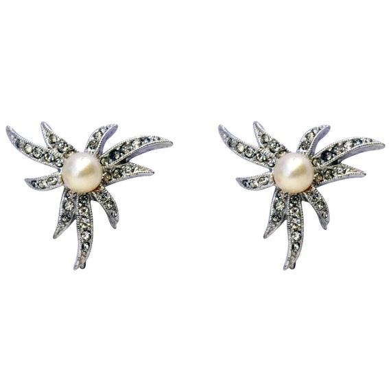 Marvella Earrings Vintage Faux Pearl & Rhinestone… - image 2