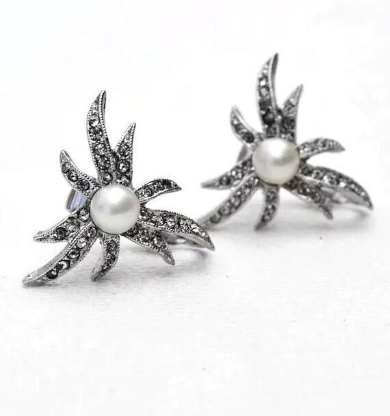 Marvella Earrings Vintage Faux Pearl & Rhinestone… - image 3