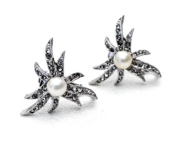 Marvella Earrings Vintage Faux Pearl & Rhinestone… - image 1