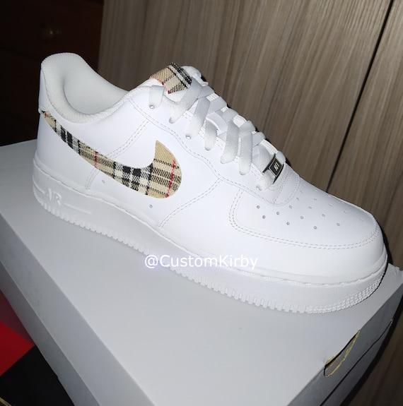Mens Custom Plaid Tartan Nike Air Force 1 (Similar look to Burberry shoes)  perfect gift