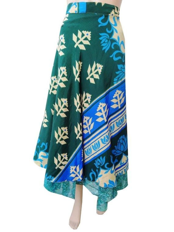 Indian Vintage Silk Saree Long Floral Handmade  Bohemian Beach Dress Comfortable Skirt Silk Saree Wrap Skirt Boho Halter Sarong Tube Dress
