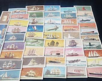 Vintage Complete Collection Brooke Bond Tea Cards 'The Saga Of Ships' 50 Cards C1960's