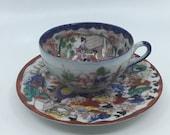 Oriental- Asian- Tea Cup- Saucer- Porcelain- Geisha- Hand Painted