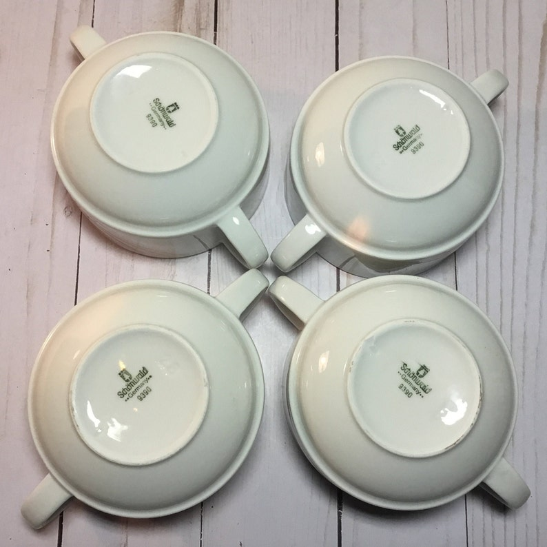 Cereal Schonwald Soup Bowl Peach- Double Handled 9388-9390 Gray Custard Lot of FOUR