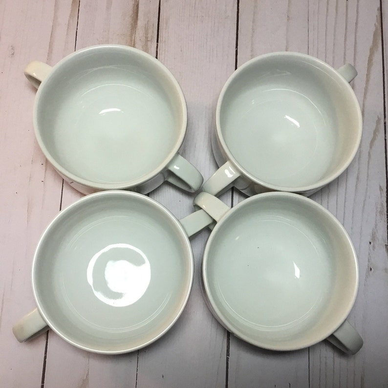 Peach- Lot of FOUR Soup Bowl 9388-9390 Double Handled Cereal Custard Schonwald Gray