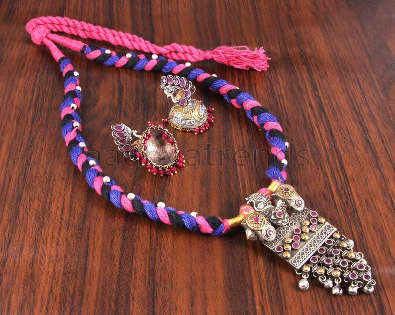 south indian jewelry traditional thread jewelry Multicolor Thread Necklace Temple Jewellery Bridal jewelry aadhya trends