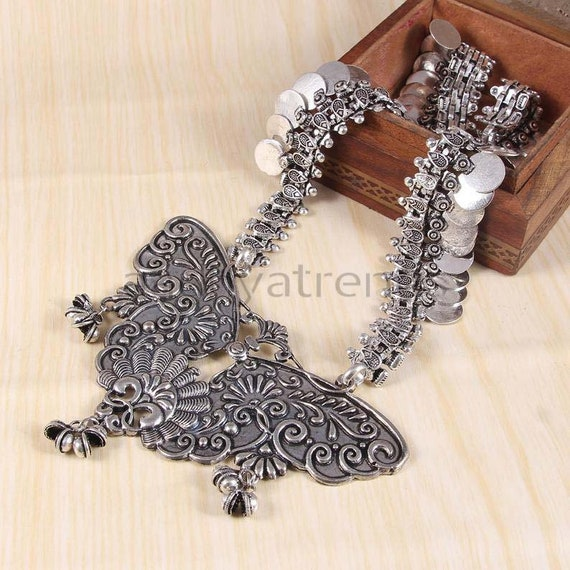 Oxidized Butterfly Design Indian Necklace For Women Indian Etsy