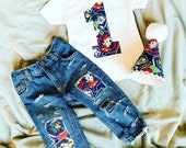 Distressed patched Paw Patrol BIRTHDAY outfit- FIRST birthday - made from paw patrol fabric - denim - jeans -appliqué - babies - kid-