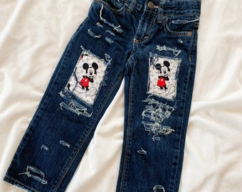 Distressed  patched Mickey Mouse  Jeans- Shorts  -made from Mickey Mouse fabric - denim - jeans - unisex - babies - kid- birthday