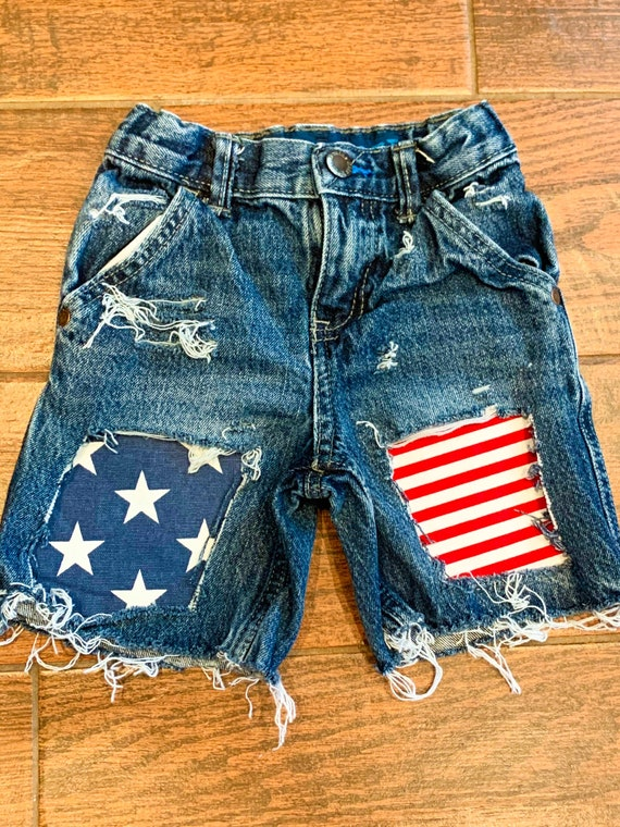 Patriotic distressed shorts Girls distressed denim shorts distressed jeans 4th of July shorts Distressed Bomb Pop Popsicles denim Jeans