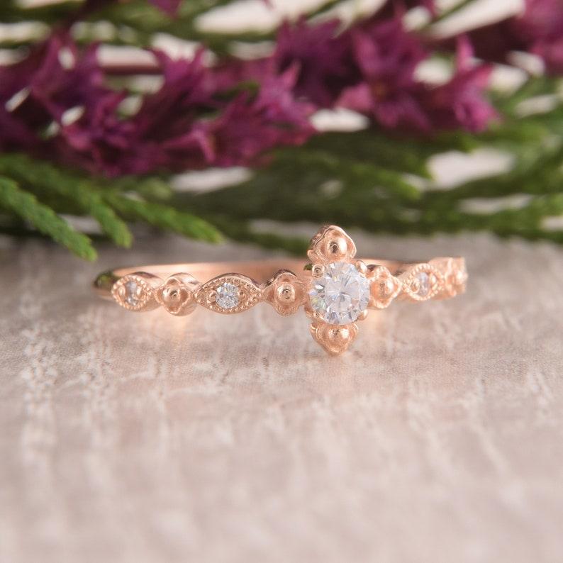 Womens Engagement Ring Art Deco Engagement Ring Antique Engagement Ring,Dainty Engagement Ring,Small Diamond Ring Diamond Engagement Ring