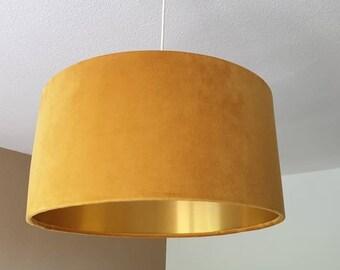Curry-Uni Samt Velvet innen Gold Lampenschirm Rund Hängelampe E27 40-20-40 Stehlampe Trommel