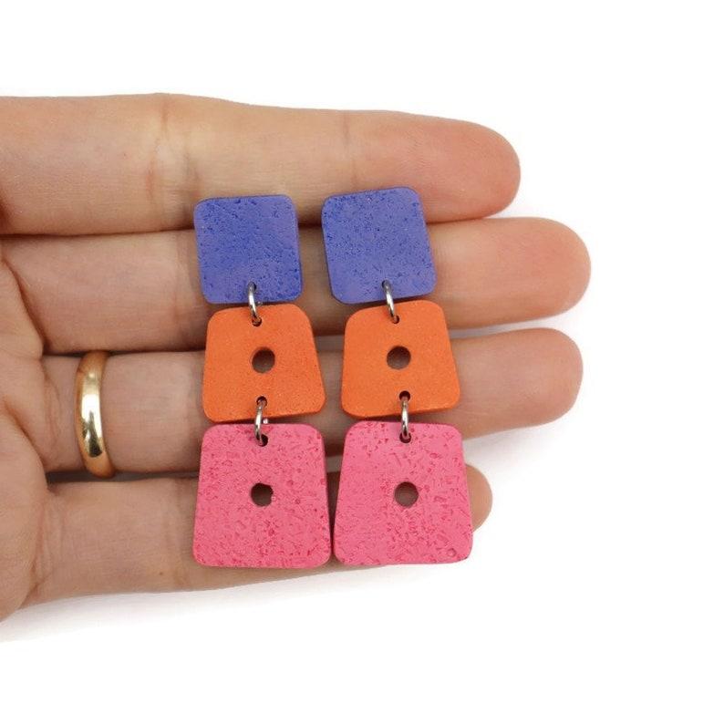 Modernist Polymer Clay Dangle Earrings .Orange Pink Blue  Earrings .