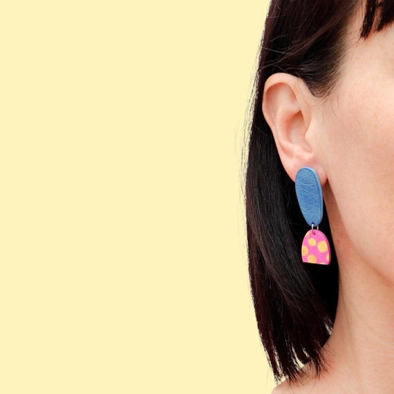 Statement Polymer Clay Dangle Earrings Sage  Special Collaboration LIMITED STOCK