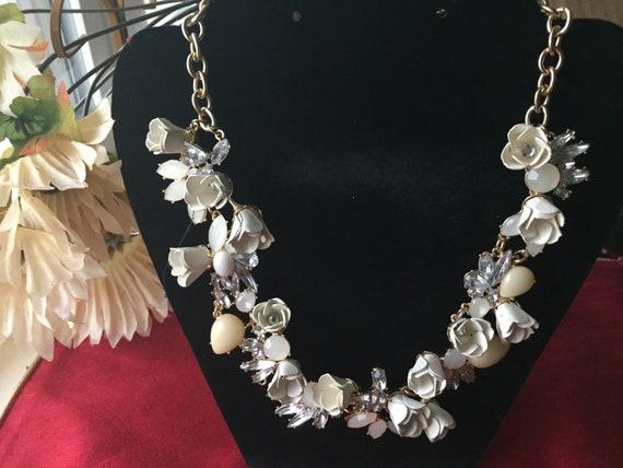 Flower Celluloid  Necklace, Bride's Necklace, Wedd