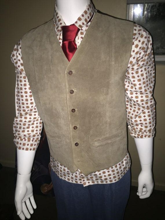 Men's Suede Vest, Men's Large Gray Vest