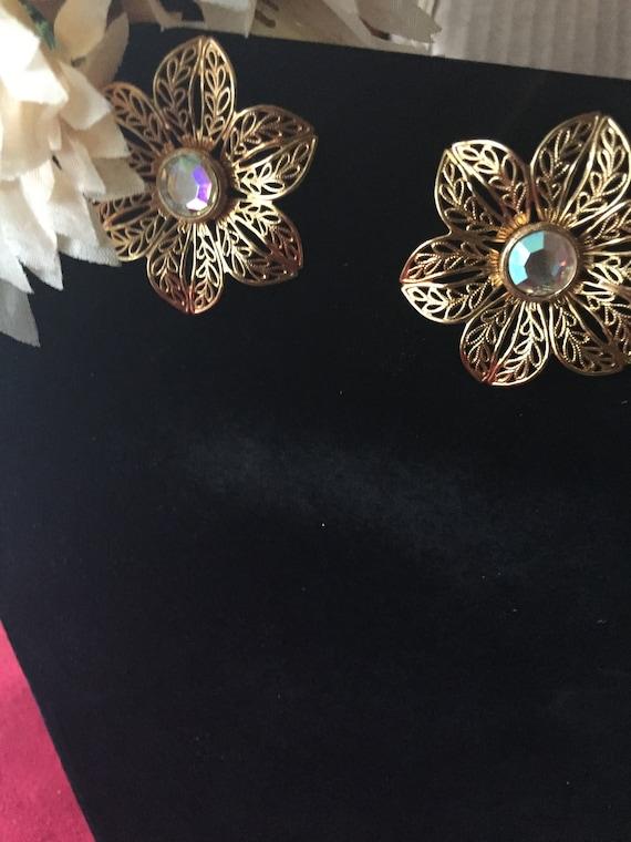 Large Gold Filigree Flower Earrings, Borealis Fili