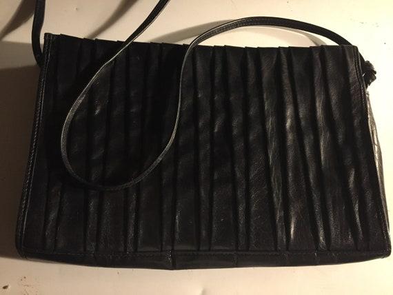 Pleated Black Leather Purse, Fancy Vintage Leather