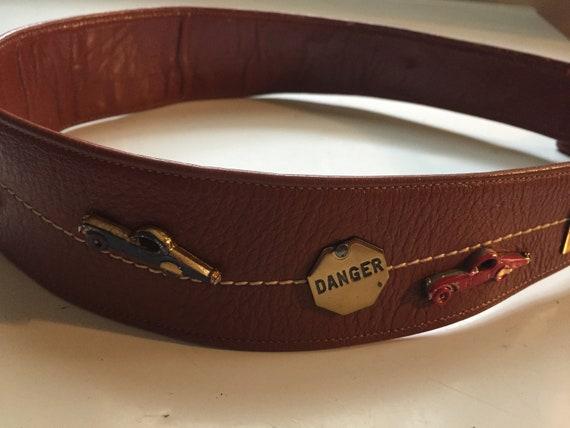 Brown Leather Vintage Belt, Leather Novelty Belt,