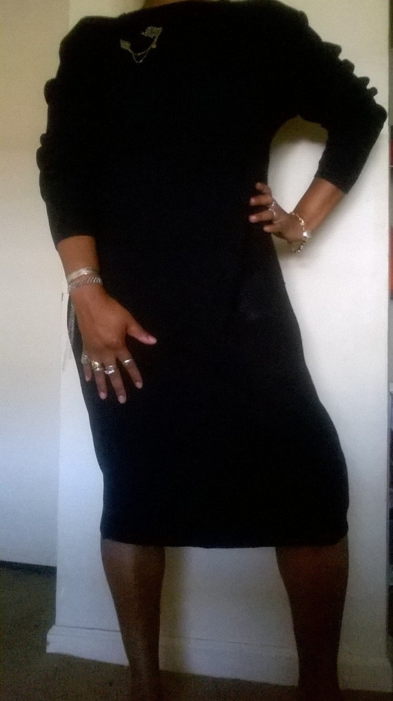 Long Sleeve Black Sweater Dress, Calf Length black
