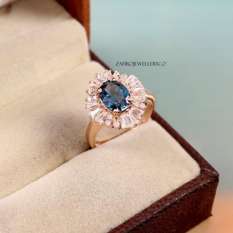 Bridal Ring Topaz Ring Halo Ring London Blue Topaz Gift Her Oval Ring December Birthstone Ring 6x8mm Natural Topaz Blue Topaz