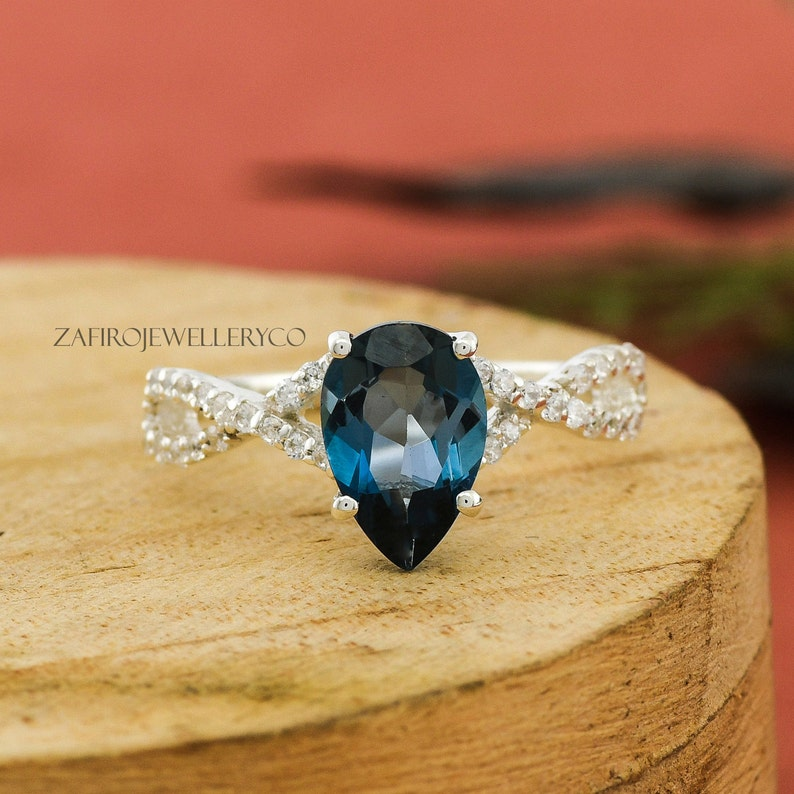 London Blue Topaz Ring Prong Ring Unique Ring Topaz Pear Ring December Birthstone Natural Topaz Engagement Ring Blue Topaz Ring