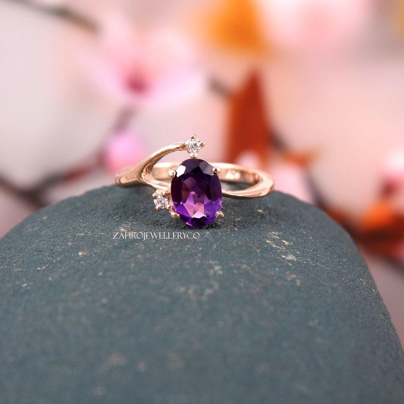 Oval Cut Natural Amethyst February Birthstone Silver Ring Wedding Ring Ring Gift Statement Ring 6x8mm Zircon Ring Amethyst Ring