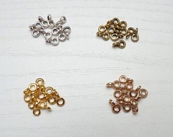 10 Collierschlaufen  ~ 8 x 6 mm ~ vergoldet  ~ Anhängerschlaufe ~