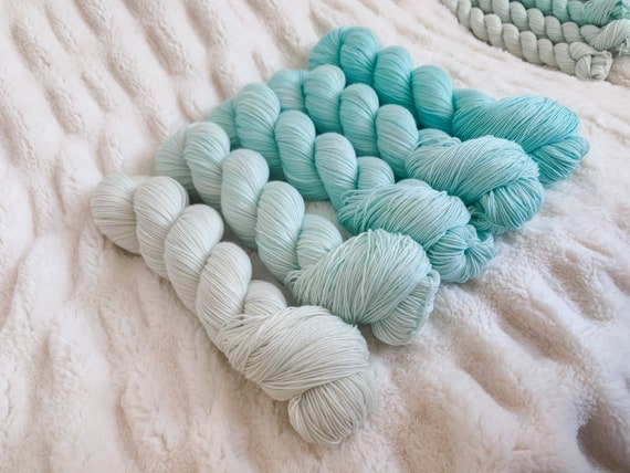 Teal Ducks Dabble Fade Set on sock or DK, full or mini skeins
