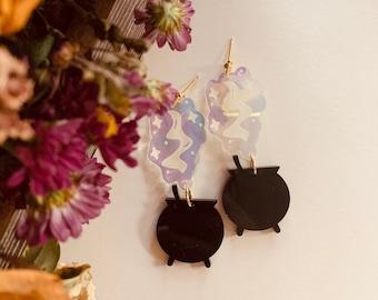 Spooky Witches Cauldron- Statement Earrings. Minimalist Earrings. Halloween Earrings. Lightweight. Sustainable Fashion. Acrylic Earrings