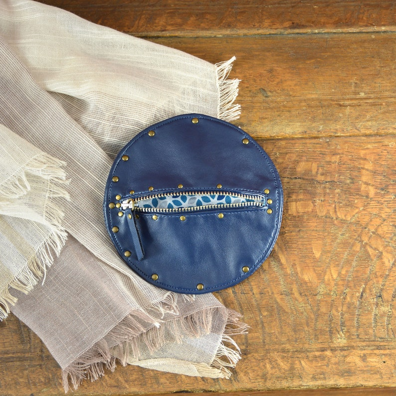 High quality imitation leather wallet with metallic zip and rivets Blue Leather Purse