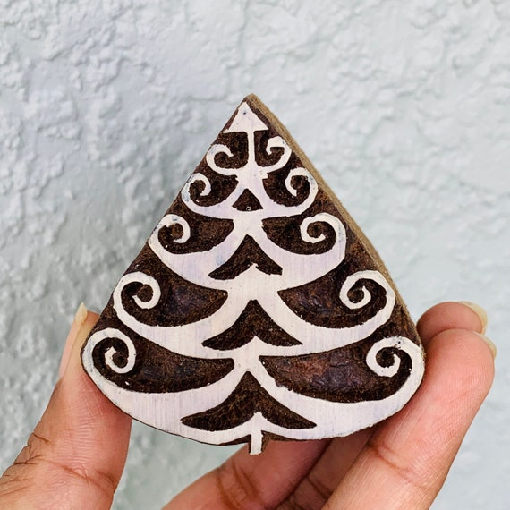 chocolate Christmas Tree Stamp Wood Stamp for Pottery Hand carved patterntexture stamp for fabric Textile OR polymer Clay OR fondants