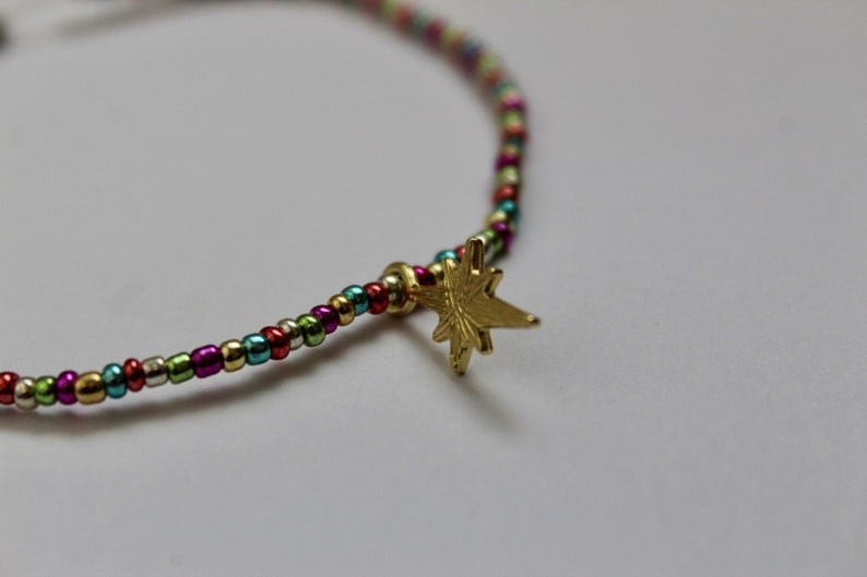 Seed Bead Diamond Charm Anklet