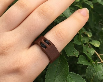 Flower Ring Light Brown and flower Ring Leather Bohemian Ring Minimalist Statement Ring