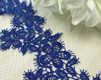 Embossed Lofted Look Lingerie  Apparel Fabric by the Yard Nylon Mesh Lace Floral Stretch Lace AQUA BLUE F0808 Vivid Electric Blue