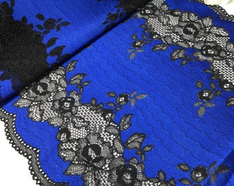 Bright blue with black stretch lace trim by the yard