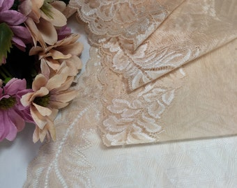 Peachy beige wide sheer stretch mesh lace trim by the yard