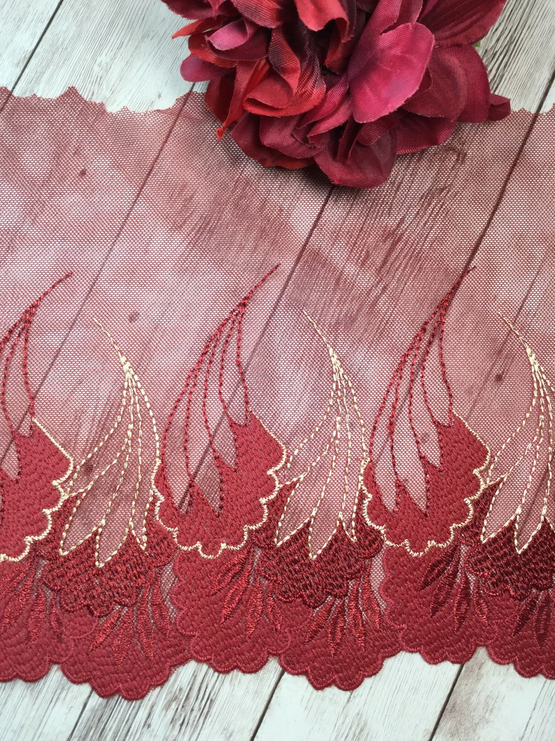 Rusty red embroidered non-stretch mesh lace lace by the yard