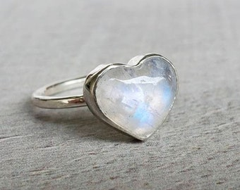 Moonstone Ring Wedding Heart Ring Promise Women Ring Her Natural Moonstone Heart Gemstone Ring Heart Silver Ring Valentines Gift Ring