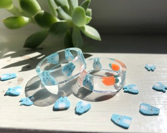 Blue bunnies resin ring - Stackable friendship ring, Easter rabbit cute spring ring - nature gemz