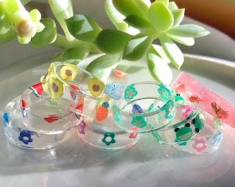 Resin rings Fruit/Frogs/Mushroom colorful dainty rings size 4-11 - nature gemz