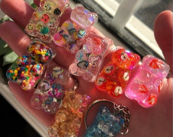 Gummy bear resin keychain 7 varieties and aesthetics! Eco friendly packaging and cute keychains!