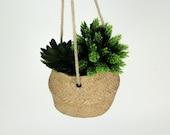 Rope Hanging Cement Planter Succulent Bowl Decorative Flower Pot Home Decor