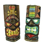 12 inch Tall Hand Crafted Wooden Tiki Totem Wall Mask Set of 2