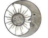 27 Inch Metal Sun Moon Face Distressed Off White Painted Rustic Wall Hanging Art