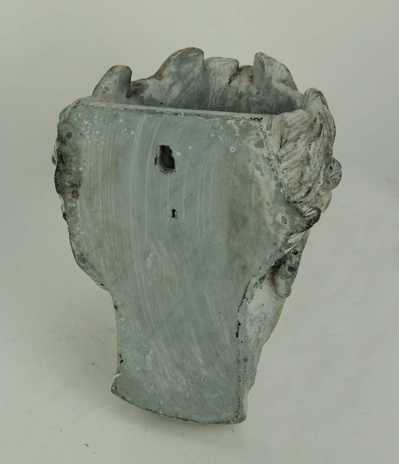 Distressed Cement Classic Greek Lady Head IndoorOutdoor Hanging Planter