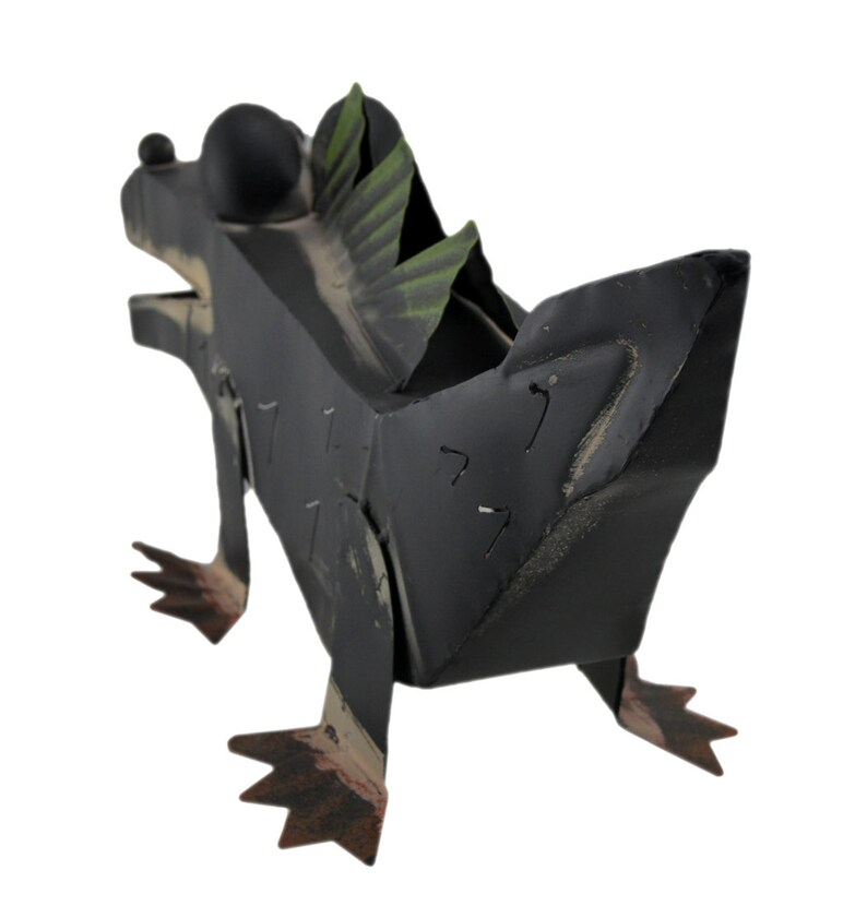 Boxy Black Metal Urban Alligator IndoorOutdoor Sculpture